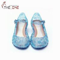 Fashion Girls Elsa Princess Shoes Children Girl PVC Crystal Party Dancing Sandals Baby Kids Blue Hole