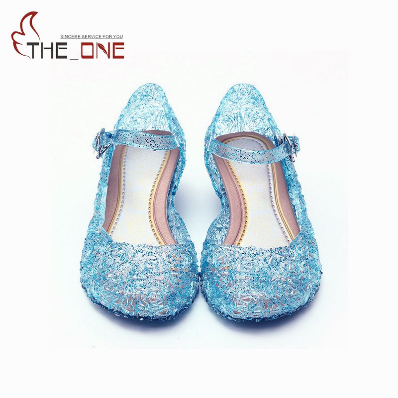 MUABABY Summer Girls Sandals Children Elsa PVC Dancing Shoes Kids Princess Party Shoes 5 Colors Princess Cosplay Accessories
