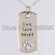 Wholesale Live Love Adopt Dog Tag low price Paw Heart tag hot sales cat id tags cheap pet id tags Animal Rescue DogTag hl80805