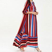 Plus Size Maxi Dresses for Women 4XL Maternity Clothes 3/4 Sleeve Striped Print Loose Long Kaftan Dress Robe Vestidos Large Size