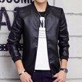 Joven macho 2016 de los nuevos hombres cultivan su de moralidad chaquetas moda cardigan PU leather hombre abrigo