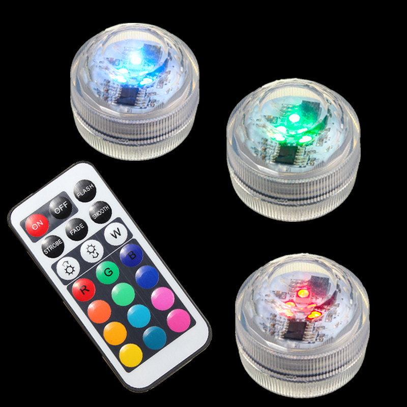 Mini 1W 1.5V RGB LED Light Bulb Colorful Round Candle Bulb Underwater Lamp With Remote Control Waterproof IP65 Decor Lighting