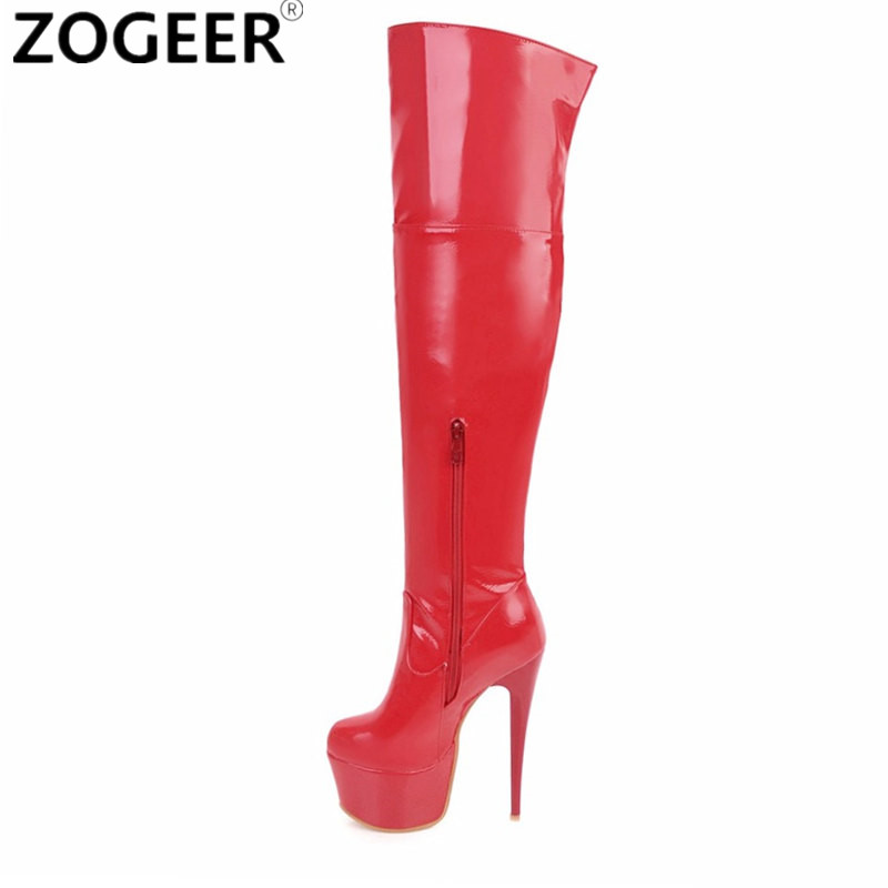 Plus size 48 Women Sexy Fetish Dance Nightclub Party Shoes Extreme High Heel Platform Women Over Knee Boots Thigh High Boots jialuowei 20cm ultra high heel chunky heels platform zip buckle boots women dance party over knee fetish thigh high shoes