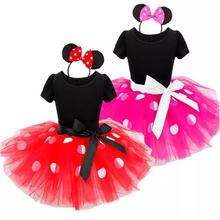 Fancy Mouse Dot Dress For Girls Infant 1 Year 2nd Birthday Party for Girl Baby Clothing Outfits Christening Gown Vestido 2 Years