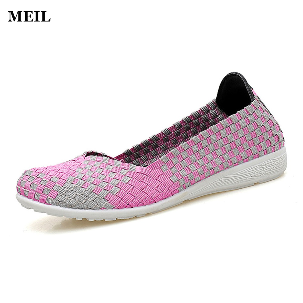 2017 New Women Woven Flats Slip On Casual Shoes Comfortable Round Toe Mother Flat Shoes Woman Plus Size women flats slip on casual shoes 2017 summer fashion new comfortable flock pointed toe flat shoes woman work loafers plus size