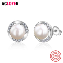 где купить Sterling 925 Silver Pearl CZ Earrings 100% Natural Freshwater 6-7mm Pearl Stud Earrings For Women Engagement Earring Jewelry дешево