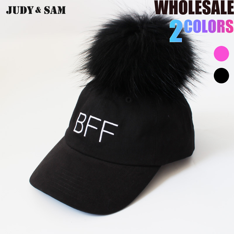 Men Baseball Caps Cotton Hip Hop Removeable Big Real Raccoon Fox Fur Pompom  On Top 2017 Snapback Hat Black White Color 46380c5370b
