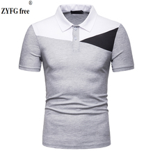 New popular men polo shirt short-sleeved Polo turn-down collar splice cotton polyester blended casual Tops