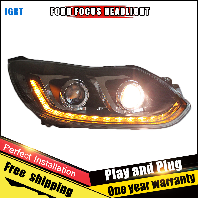 Car Style LED headlights for Ford Focus 2012-2014 for Focus head lamp LED DRL Lens Double Beam H7 HID Xenon bi xenon lens for volkswagen polo mk5 vento cross polo led head lamp headlights 2010 2014 year r8 style sn