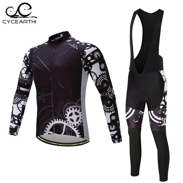 CYCEARTH Men Long Sleeve Cycling Clothing Team Pro Breathable Cycling Jerseys Bib Pants Set MTB Champion Ropa Ciclismo Maillot