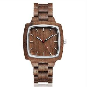 Image 3 - Ahşap sevgili saati erkekler kadınlar Lover hediye bilek saatler erkek kadın kahverengi ceviz ahşap kare Dial kuvars kol saati Reloj saat