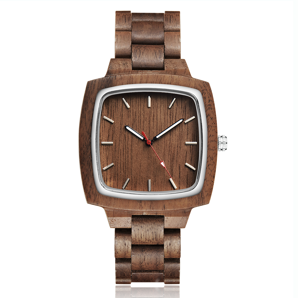 Image 3 - Wooden Couple Watch Men Women Lover Gift Wrist Watches Male Female Brown Walnut Wood Square Dial Quartz Wristwatch Reloj Clock-in Lover's Watches from Watches