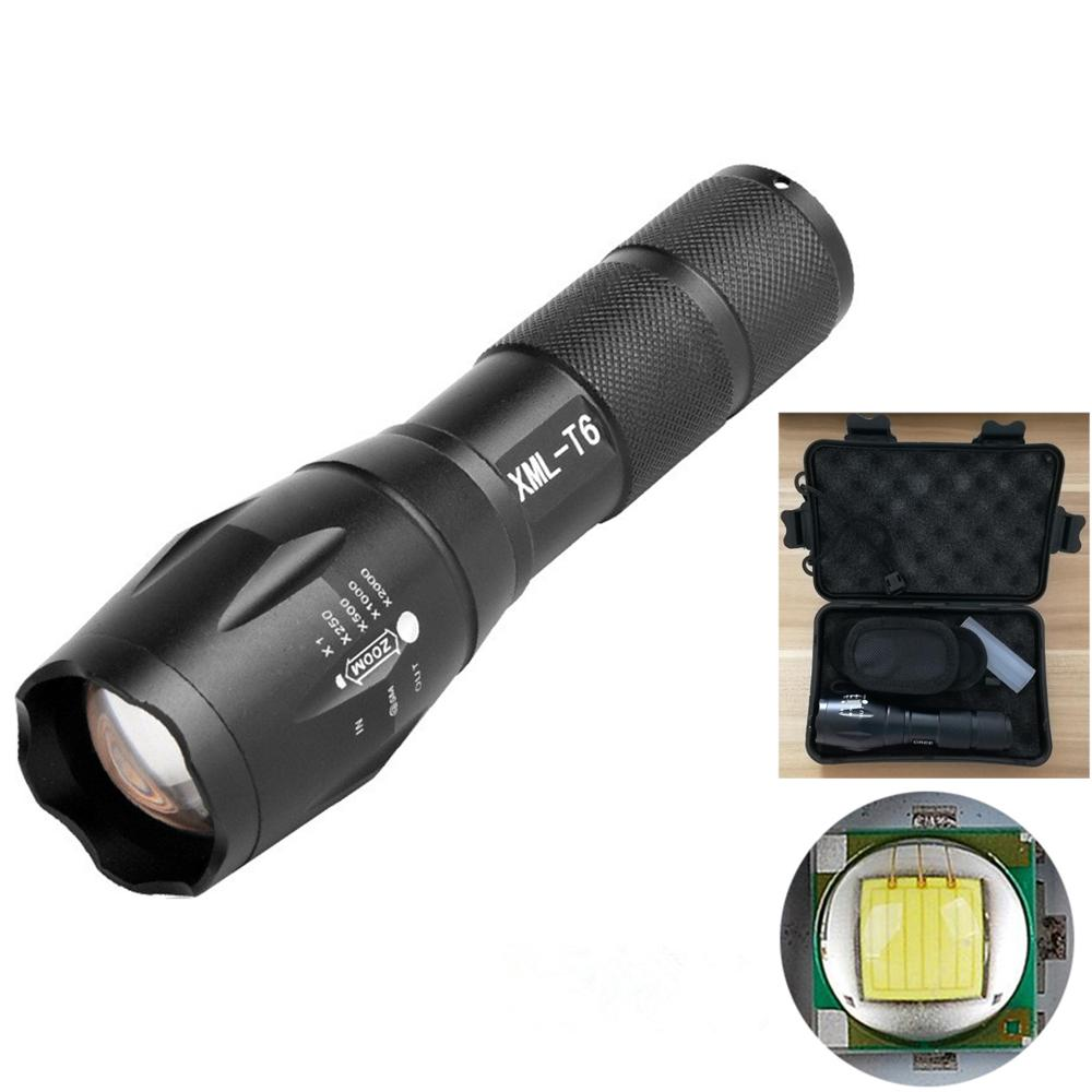 Zoomable   T6 Flashlight 15000 Lumens 4 Modes Mini USB Torch Light AO