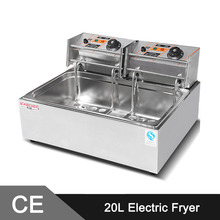 20Liter Commercial Stainless Steel Electric Deep Fat Fryer Single Tank Double Baskets