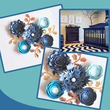 手作りストックローズ diy の紙の花葉セット結婚式 & イベントの背景装飾保育園壁デコビデオチュートリアル