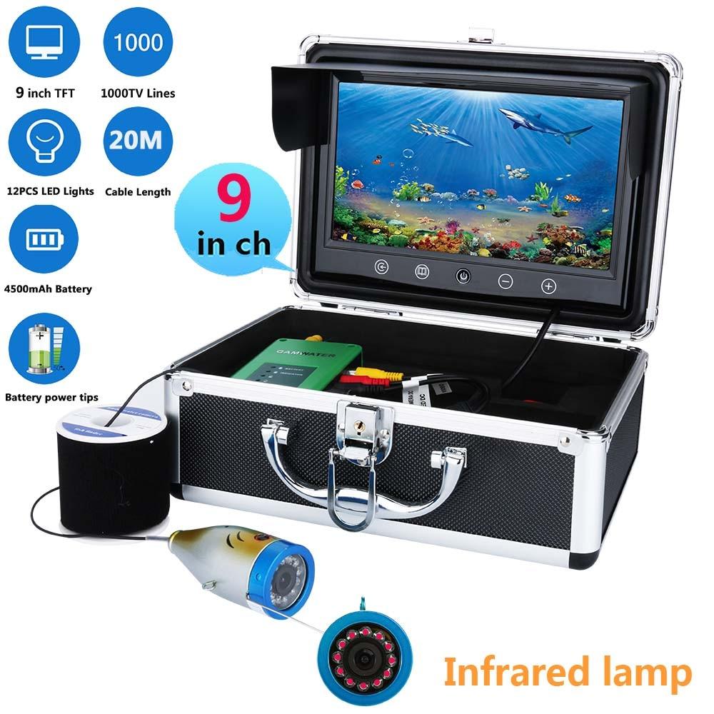 9 Inch tft 1000tvl Underwater Fishing Video Camera Kit 12 PCS LED  Infrared Lamp Lights Video Fish Finder 10M 15M 20M 30M 50M ennio sy7000 15m 12 led lights 900tvl underwater fishing video camera