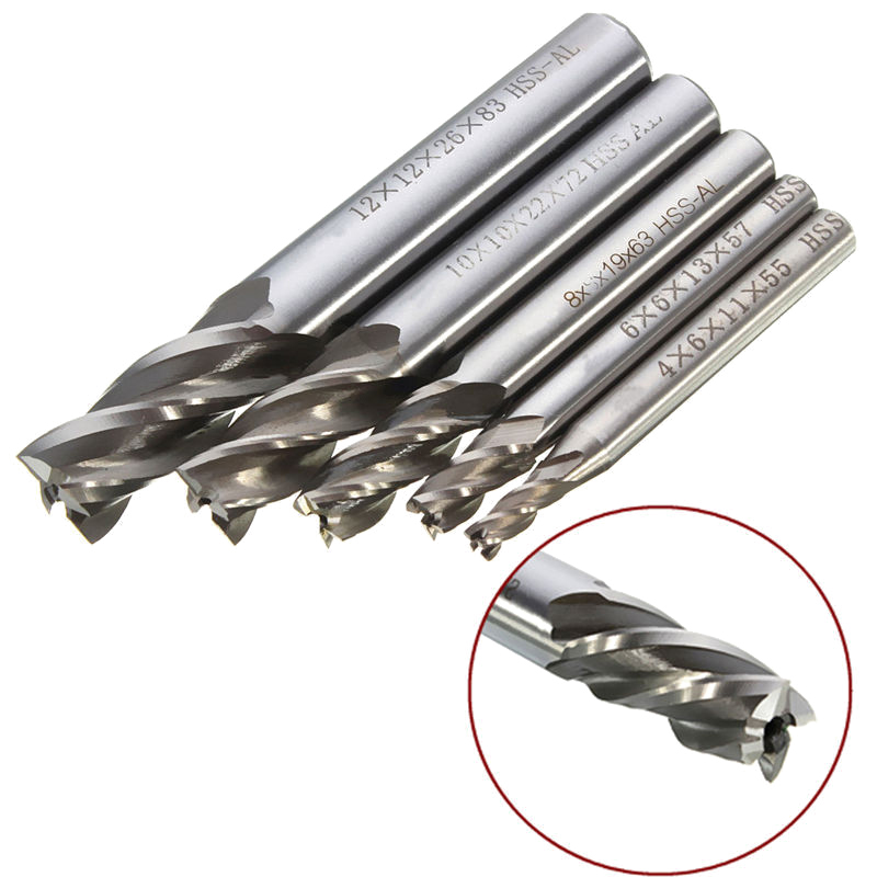 5pc HSS End Mill Milling Cutter Metal Drilling Bits 2/3/4/5/6mm Power Tools Set