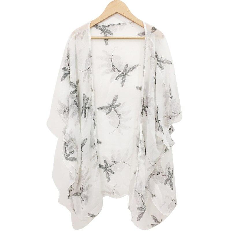 2018 Summer Sunscreen Dragonfly Cardigan Chiffon Japan AGentle Wind Printing Jacket   blouse     shirt   kimono tops female