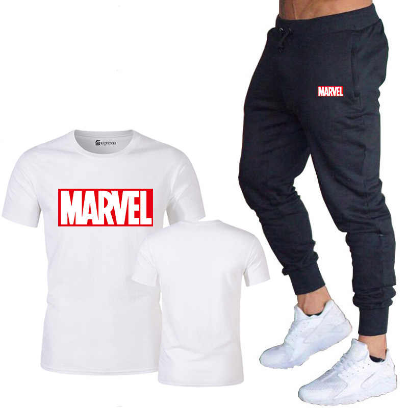 New summer hot brand sale men's MARVEL suit T-shirt + pants two-piece casual sportswear printing shirts gym fitness pants 2019
