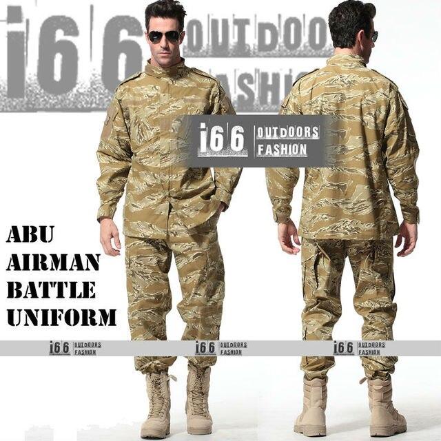 cfc25f67a87 Free shipping ABU Airman Battle Uniform suit sets BDU Military Combat  Uniform CS Training Garment sets Shirt + Pants(AU-12034)
