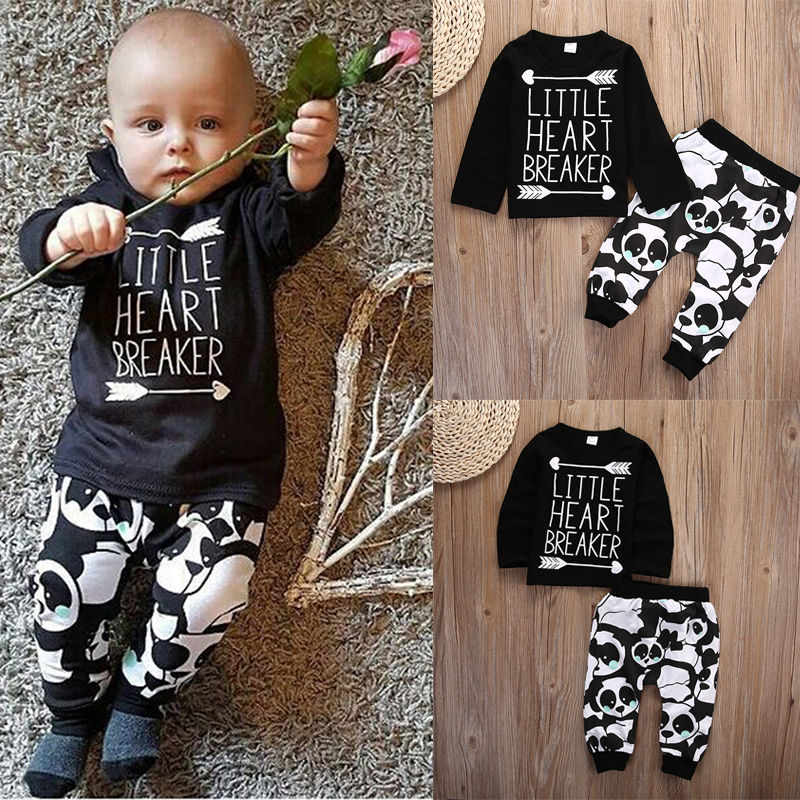 Infant Baby Newborn Boy Clothes Set Little Girl T-shirt Tops Legging Pants Cute Animals Cartoon Cotton 2pcs Clothing Outfit Set baby fox print clothes set newborn baby boy girl long sleeve t shirt tops pants 2017 new hot fall bebes outfit kids clothing set