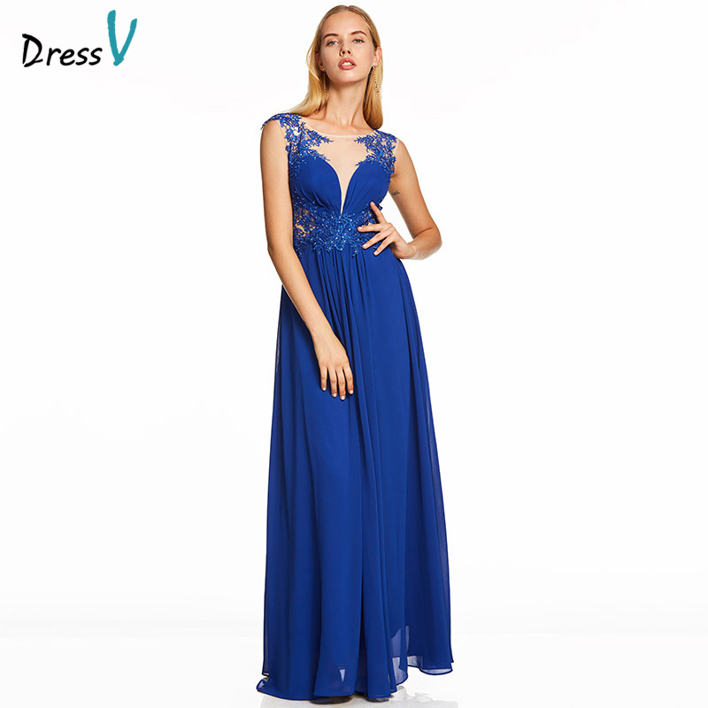 Dressv Dark Royal Blue Long Evening Dress Beading Cheap Scoop Neck Wedding Party Formal Dress A Line Appliques Evening Dresses