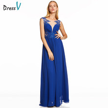 Dressv dark royal blue lange avondjurk kralen goedkope hals wedding party formele jurk een lijn applicaties avondjurken(China)