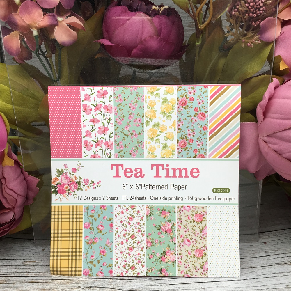 24pcs/Pack 6*6inch 15.2cm Afternoon Tea Time Patterned Paper Pack For Scrapbooking DIY Happy Planner Card Making Journal Project