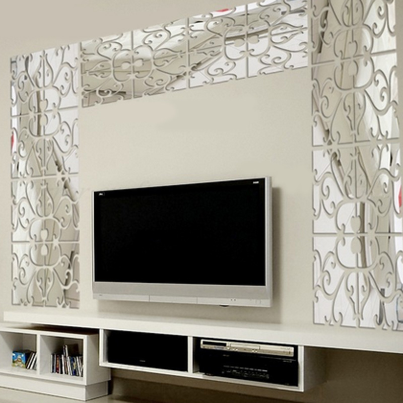 32pcs/set 3D mirror wall stickers Acrylic mural BIG sticker home ...