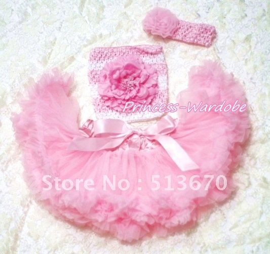 Light Pink Baby Pettiskirt, Light Pink Peony Pink White Crochet Tube Top, Pink Rose Headband 3PC Set MACT177