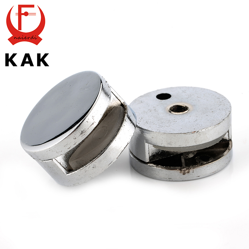 4PCS KAK Round Mirror Glass Clamps Zinc Alloy Shelves Support Corner Brackets Clips Nail For 6mm Thick Furniture Hardware