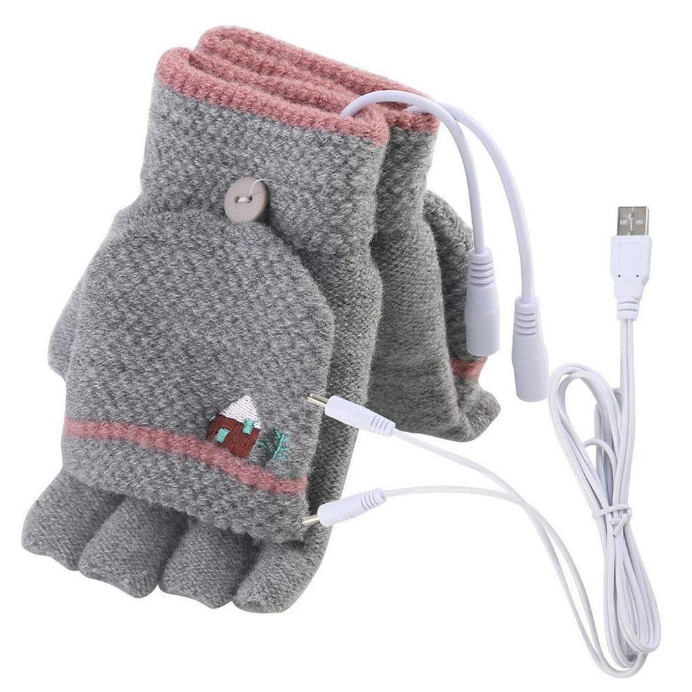 Hand Warmer Fashion Winter Unisex Powered USB Mittens Electric Heating Gloves
