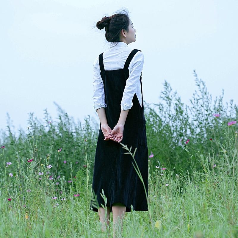 Coréen Style Preppy Robe En Velours Côtelé Avec Des chemises Femmes Automne Sangle Robe Longue grande taille décontracté Vintage robe X9160 - 2