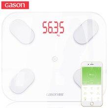 GASON S4 жира весы Smart Bluetooth этаж Вес Ванная комната масштаба Дисплей жира и воды мышечной массы ИМТ (для iOS или Android)