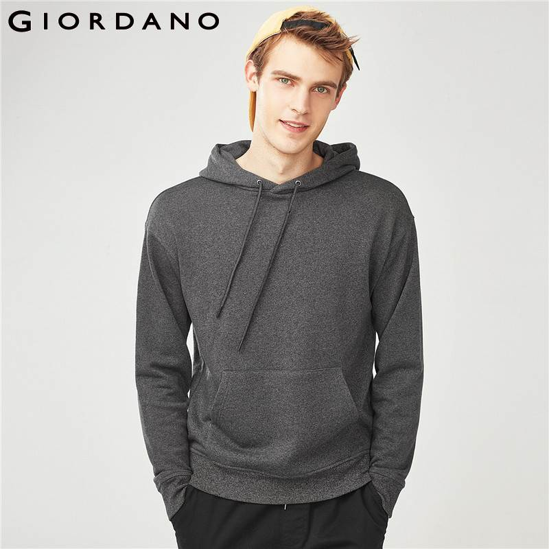 Giordano Men Hoodies Men Sweatshirt Fleeced Lining Kanga Pocket Hoodies Keep Warm Hood With Drawstring Practical Hoodies Men