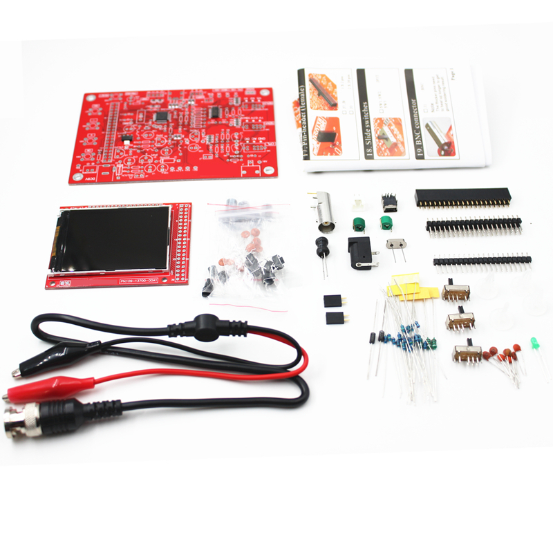 цена на DSO138 2.4 TFT Digital Oscilloscope Kit DIY 200KHz Tester 1Msps Bandwidth Probe Electronic Production Suite