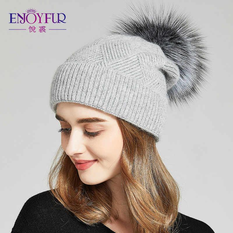 c44253e3e5f45c ENJOYFUR Winter Hats For Women Natural Fur Pompom hat Warm Wool Slouchy  Beanies For Female Fashion