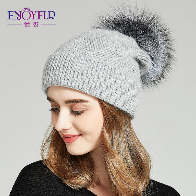 ENJOYFUR Winter Hats For Women Natural Fur Pompom hat Warm Wool Slouchy   Beanies   For Female Fashion   Skullies   Lady Hats 2018