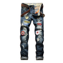 New Men's Retro Nostalgia Straight Jeans Personality Male Badge Distressed jeans Plus size 28-42 long demin pants Trousers(China)