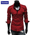 2017 New Fashion Men Shirt Brand Clothing Single Breasted Shirt Men Long Sleeved Chemise Homme 3 Colors Cool Slim Mens Shirts