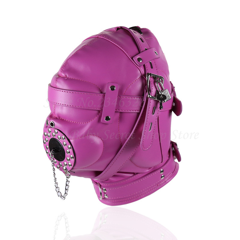 New Fetish PU Leather Bondage Hood Open Mouth Gag Totally Enclosed Mask With Lock Harness Slave Bdsm Restraints Erotic Sex Toys