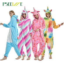 Kigurumi yetişkin kış Unicorn pijama dikiş Panda Cosplay Onesie hayvan pijama kadın erkek Unisex pazen gecelik