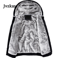 Jvzkass new Winter Cotton clothing jacket women plus velvet couple loose casual autumn and winter neutral hooded thickening Z277