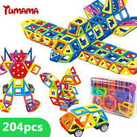 TUMAMA 204pcs Mini Magnetic Block Building Models Building Toy Magnetic Designer Enlighten Bricks Magnetic Toys Educational