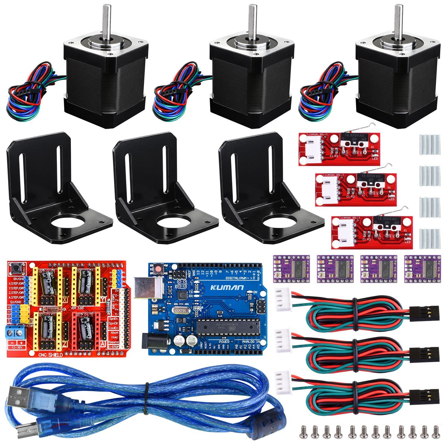 Professional 3D printer CNC Kit for arduino, Miroad GRBL CNC Shield +UNO R3 Board + RAMPS 1.4 Mechanical Switch Endstop KB02 open smart uno atmega328p development board for arduino uno r3