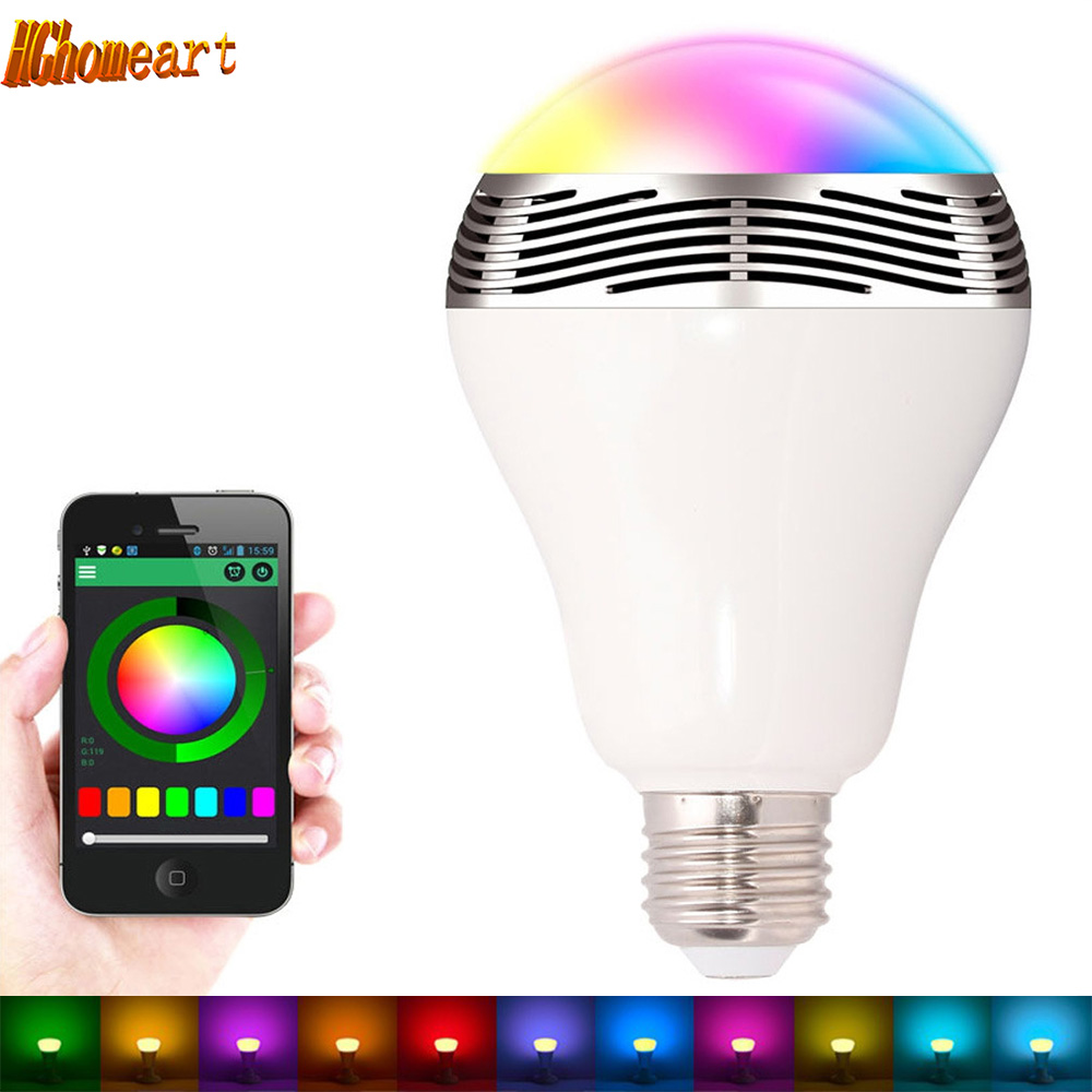 HGhomeart APP Music Energy Saving E27 6W RGB LED Bulb 7 Colors IR LED Bluetooth Audio Smart Multi - Function Speaker Light Bulb 2017 hot bluetooth multi function audio intelligent family host background music system lcd screen touch light dimmer 2 speakers