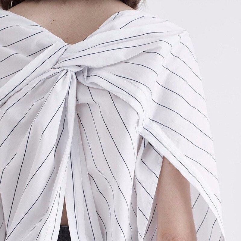 TWOTWINSTYLE Striped Shirt Womens Slash Neck Patchwork Ruched Irregular Blouse Female Spring Summer Fashion Big Size Clothing