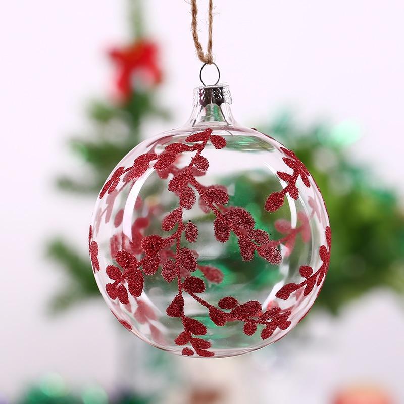 Freeshipping Navidad Bola De Cristal Rellenable con rojo Mimbre para piezas cent