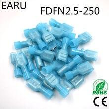 Cabo conector de fio, FDFN2-250 FDFN2.5-250 nylon latão feminino isolado spade cabo de junta conector 100 peças terno 1.5-2.5mm2 16-14awg fdfn plug