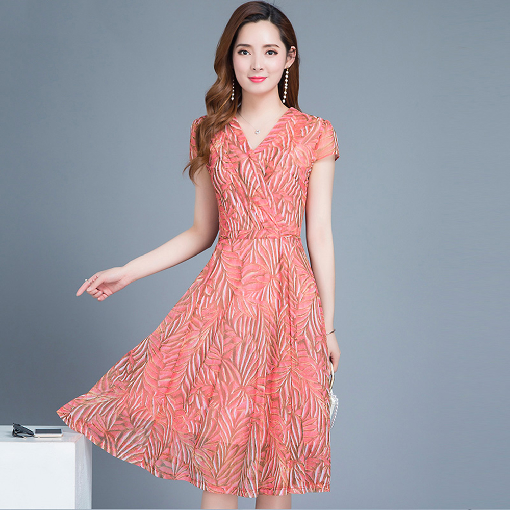 Chffon Green Tunc Lne Vestdos Fleur pink Robe Corée Élégante Un Boho Courtes Style Pnk Manches Plage Vert Woman70q301 Vêtements r7qO86Tr